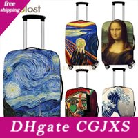 Wholesale arts oil paintings woman resale online - Art Oil Painting New Polyester Women Men Luggage Protective Bag Cartoon School Cover Elastic Suitcase Cover Anti Dust Trolley Case Cover