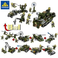 Wholesale blocks set fighter resale online - 8in1 Military Combat Troops Fighter Tank Army Armored Car Building Blocks Sets DIY Bricks Helicopter Model Education Kids Toys