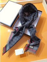 Wholesale long wool scarves resale online - latest luxury scarf silk square scarves brand famous designer letter pattern lady gift scarf high quality silk long scarf siz