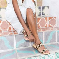 Wholesale leopard print low heels resale online - 2020 Summer Comfortable Breathable Low Heel Casual Women Sandals Leopard Print Ladies Large Size Open Toe Sandals