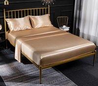 Wholesale silk bedding sets comforters resale online - High Quality Duvet Cover Silk Bed sheets Four Piece Bedding Sets Color On Sale Comforter Sets