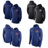 Wholesale new jersey hoodie resale online - New York Knicks Men Showtime Jersey Therma Flex Performance NYK Full Zip Basketball Hoodie Blue