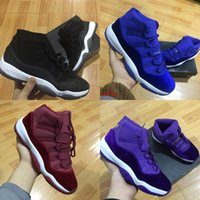 Wholesale 11 Velvet Heiress red blue Grey Suede Basketball Shoes Women Men Spaces Jams S XI Authentic navy blue pink Sports Shoes WIth