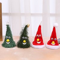 Discount plastic swings Christmas Singing Electric Hat Swing Tree Toy Battery-free Christmas DecorationsNew