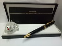 Wholesale High quality Classique Platinum Line LeGrand black body gold clip Ballpoint Pen white star inlay serial number