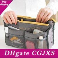 Wholesale hot designer handbag resale online - Hot Sell Bag Organizer Bag In Bag Dual Portable Insert Handbag Purse Large Liner Storage Organizer Bags Lin2394
