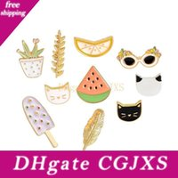 Wholesale lapel pin badges resale online - Ice Lolly Watermelon Leaves Fruit Animal Pot Cartoon Brooch Alloy Badges Hard Enamel Lapel Pin Collection Jewelry Gift Bag Jacket Accessory