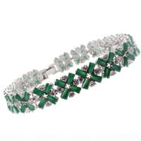 Wholesale 925 silver emerald resale online - 925 Sterling Silver Links Bracelets Rhinestone Natural Gemstone White Topaz Emerald Ruby Amethyst Inch