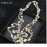 Wholesale channel necklaces resale online - Simulated pearls Beads Chain Necklace Hollow Camellia flowers Long Necklace Jewelry Gift cc channel Necklace
