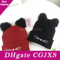 Wholesale knitted cat ears resale online - 4 Colors Hot Sale Cute Cat Ears Women Hat Knitted Acrylic Warm Winter Beanie Caps Festival Favors