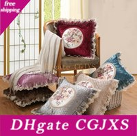 Wholesale lace pillow cases for sale - Group buy Vintage Pillow Case cm Lace Embroidery Flower Sofa Cushion Cover Home Decoration Housewarming Gift Car Throw Pillow Cover Pillowcase