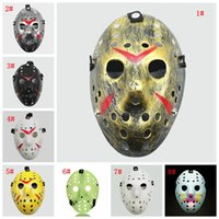 Wholesale jason voorhees cosplay resale online - Masquerade Masks Jason Voorhees Mask Friday the th Horror Movie Hockey Mask Scary Halloween Costume Cosplay Plastic Party Masks EWF836