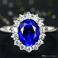 Wholesale sapphire engagement rings resale online - Rings for Women Wedding Men s Jewelry Engagement Rings white gold Plated Brass Cubic Zirconia Sapphire Gemstone Rings