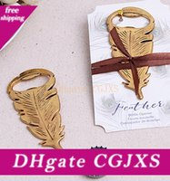 Wholesale birthday souvenirs for kids for sale - Group buy Gilded Gold Feather Bottle Opener Wine Opener Souvenir For Birthday Parties Kids Adult Birthday Favors And Gifts