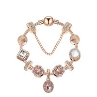 Wholesale rose gold lobster clasp charms resale online - Rose Gold and gold charm bracelet round basic Lobster clasp snake chain with trinket charms bead jewelry making for women gift