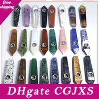 Wholesale stone pipes resale online - Natural Smoking Pipe Healing Crystal Stone Pipes For Smoking Tobacco Pipe Quartz Gemstone Pipe Tower Quartz Point