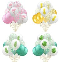 12-zoll-punkt-ballons groihandel-Zoll Printed Hawaii 15pcs / set Leave Theme 12 Set Ballons Party Dekoration Flamingo Pinapple Dot Balloons garden2007 FUnFa
