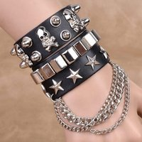 Wholesale skull rivets leather bracelet for sale - Group buy Fashion multi layer leather wide dance domineering bracelet rivet punk street personalized jewelry bracelet Jewelry skull sgaRK