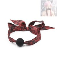 Wholesale mouth gag balls sex resale online - Adjustable Open Mouth Bondage Lace Black Silicone Ball Gag BDSM Mouth Gags Sex Product Toys