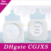 Wholesale baby bottles sets resale online - Resin Baby Bottle Photo Frame Place Card Holder Baby Shower New Born Favors Birthday Party Table Setting Za4553
