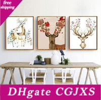 Wholesale spray painting art resale online - Diy Oil Painting Animal Decorated Picture Art Paintings Hand Painted Deer Oil Painting Sofa Wall Decoration No Frame Inch Bc Bh1495