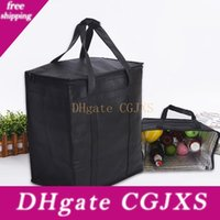 Wholesale beach foods resale online - Black Insulated Tote Cooler Bag For Grocery Shopping Transport Hot And Cold Food Camping Beach Reusable Grocery Bag Hh9