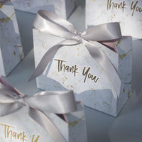 50pcs Creative Grey Marble Gift Bag Box for Party Baby Shower Paper Chocolate Boxes Package Wedding Favours Candy Boxes
