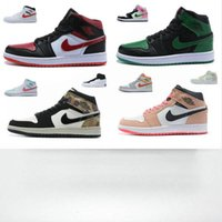 Wholesale youth basketball shoes green for sale - Group buy 2020 new retro Mid GS Bred Black Red men women kids basketball shoes s High OG Pine Green Mid Camo youth big boy sports sneakers