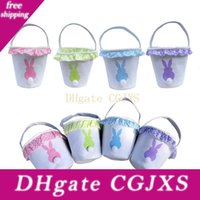 Wholesale bunny tails resale online - Easter Baskets Canvas Rabbit Print Basket Bunny Tail Egg Buckets Bags With Lacy Kids Candy Gift Holder Handbag Tote Festival Jxw565