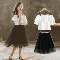 Wholesale girl t shirt 12 year resale online - New Girls Clothes Sets Summer Girl T shirt Tulle Skirt Suits Kids Princess Dresses Children Clothing Set Years