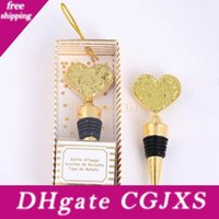 Wholesale giveaways wedding souvenirs wine stoppers for sale - Group buy Heart Wine Bottle Stopper Golden Wine Stoppers Wedding Favor Giveaways For Guests Valentines Souvenirs For Boyfriend