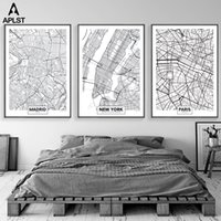 Wholesale city painting black white for sale - Group buy Large World Map New York Madrid Paris City Maps Prints Nordic Posters Black White Canvas Painting Living Room Wall Pictures