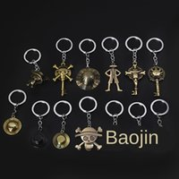 Wholesale one piece skull hat resale online - One piece pirate Luffy metal key Straw hat gift Gift skull straw hat chain key anime chain surrounding exquisite small gifts skVU