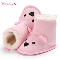 Wholesale cute knitted boots resale online - New Fashion Baby Winter Shoes Boots Cute Cartoon Bear First Walkers Knitted Keep Warm Booties Infant Toddler Newborn Boots