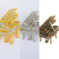 Wholesale gold pianos for sale - Group buy Korean brooch gold plated diamond encrusted small piano brooch fashionable clothing suit Suit personalized all match clothes customized FMHL