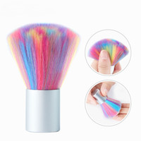 Wholesale beauty nails resale online - Rainbow Soft Nail Art Dust Brush UV Gel Acrylic Powder Dust Remover DIY Beauty Manicure Cleaning Tools Nail Care Salon Tools