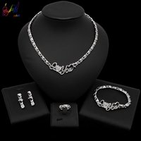 Wholesale wedding ring set prices for sale - Group buy Yulaili Newest I love you Necklaces Heart Earrings Bracelet Ring for Women Wedding Party Jewelry Sets Price