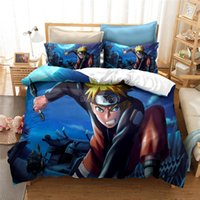 Wholesale gold bedding linens resale online - Home Textile d NARUTO Bedding Set Uzumaki Naruto Hatake Kakashi Character Printed Bed Linens Children Anime Duvet Cover Sets
