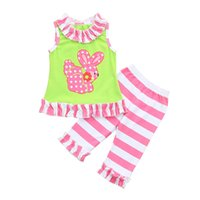 Wholesale toddler easter for sale - Group buy Clearance cut baby girls Toddler Infant Baby Girls Easter Rabbit Ruffles Tops Striped Pants Outfits Set Z0211
