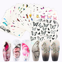 Wholesale flower butterfly images resale online - 30pcs Butterfly Flowers Nail Sticker Set Water Transfer Nail Art Slider Decals Leaves Image Wraps for Manicure STZ983