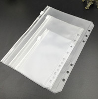 Wholesale zipper binder resale online - A6 Clear Punched Binder Pockets for Notebooks Holes Zipper Loose Leaf Bags PVC Frosted Notebook Pockets Organize Document Storage Folders