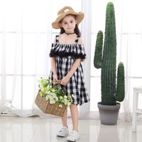 Wholesale black chinese baby dress for sale - Group buy New spring summer girl dresses cotton hemp black white plaid suspender skirt baby little princess beautiful skirt girl Kids Clothing T