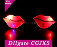 Wholesale toy red lips resale online - Luminous Flash Red Lips Cartoon Led Light Brooch Light Up Toys Party Holiday Decorations Supplies H264