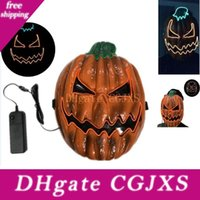 Wholesale halloween 2 mask for sale - Group buy Halloween Led Pumpkin Mask El Wire Head Fantastic Masquerade Cosplay Party Decoration Christmas Funny Costume Home Ornament Style Hh9