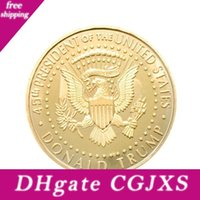 aigles d'or achat en gros de-Donald Trump Collection Pièce commémorative nous Métal président d'Eagle Coins Drapeau national Amérique du Souvenir Edc Badge Color Craft Gold 2 3YN C1 de