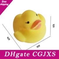 Wholesale yellow duck bath resale online - 1000pcs Baby Bath Water Duck Toy Sounds Mini Yellow Rubber Ducks Bath Small Duck Toy Children Swimming Beach Gifts cm