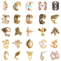 Wholesale skull c resale online - 60 Types of Clip On Earrings Men Fashion Jewelry Street Shot Charms Artificial Diamond Geometry Crown Peace Dove Skull Hand Womens C Earings