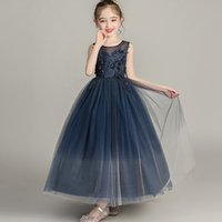 Wholesale black chinese baby dress for sale - Group buy Party Dress Flower Girl Princess Long Wedding Bridesmaid Embroidery Dress Baby Girl Graduation Ball chinese wedding