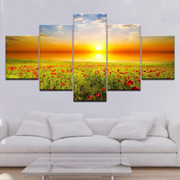 Wholesale canvas art poppies for sale - Group buy Canvas Printed Pictures Living Room Wall Art Framework Pieces Romantic Poppies Paintings Red Flowers Poster Modular Home Decor