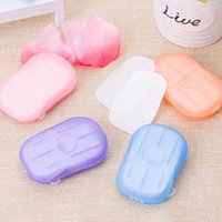 20PCS box Portable Mini Travel Soap Paper Washing Hand Bath Clean Scented Slice Sheets Disposable Box Disinfectant
